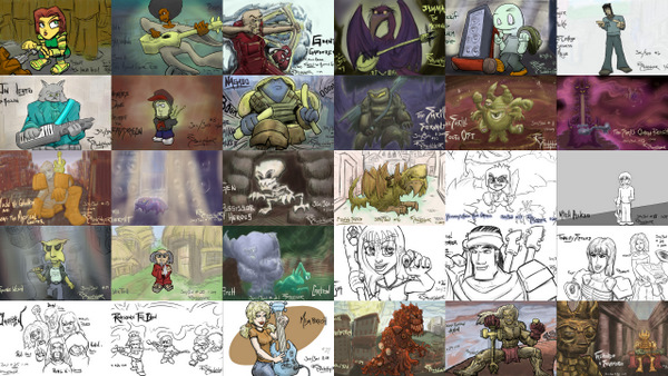 A collage of all the characters designed by Rob Stenzinger during the 30 characters in 30 days challenge.